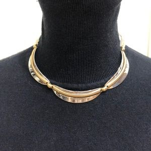 Silver and gold tone scalloped necklace